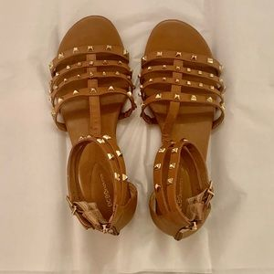 BCBGeneration Camel & Gold Stud Gladiator Sandals!